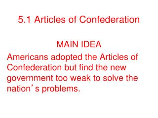 5.1 Articles of Confederation