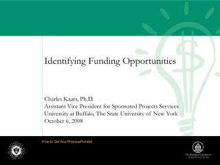 Identifying Funding Opportunities