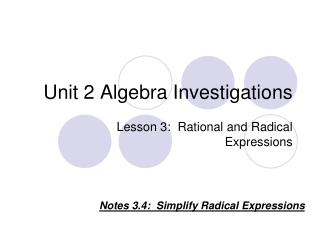 Unit 2 Algebra Investigations