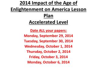 2014 Impact of the Age of Enlightenment on America Lesson  Plan Accelerated Level