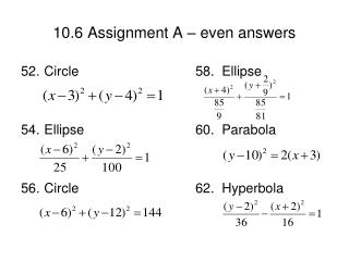 10.6 Assignment A – even answers