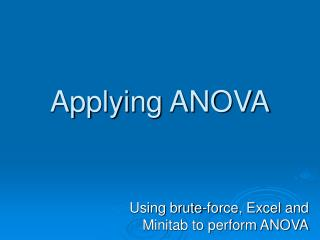 Applying ANOVA