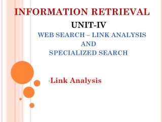 Web Search: Link Analysis