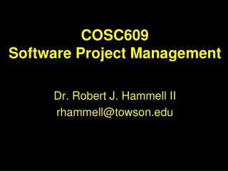 COSC609 Software Project Management