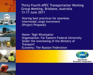 Sharing best practices for seamless intermodal cargo movement (Project Proposal)