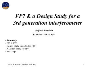 FP7 & a Design Study for a 3rd generation interferometer