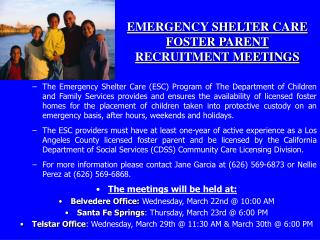 EMERGENCY SHELTER CARE  FOSTER PARENT  RECRUITMENT MEETINGS