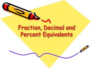 Fraction, Decimal and Percent Equivalents
