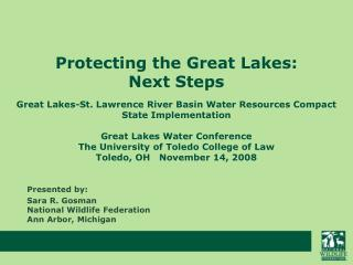 Protecting the Great Lakes:   Next Steps
