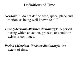 Definitions of Time