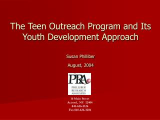 The Teen Outreach Program and Its Youth Development Approach