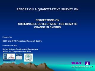 REPORT ON A QUANTITATIVE SURVEY ON