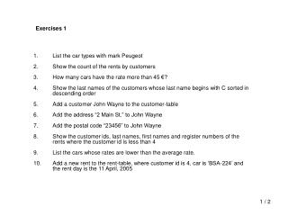 List the car types with mark Peugeot Show the count of the rents by customers