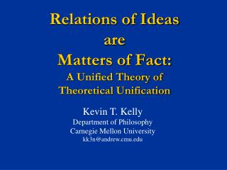 Relations of Ideas  are  Matters of Fact:  A Unified Theory of  Theoretical Unification