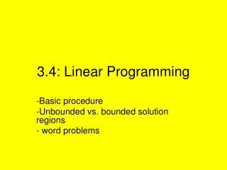 3.4: Linear Programming