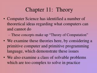 Chapter 11: Theory