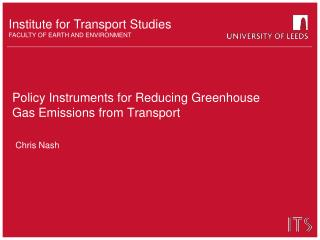 Policy Instruments for Reducing Greenhouse Gas Emissions from Transport