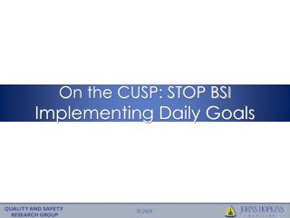 On the CUSP: STOP BSI Implementing Daily Goals