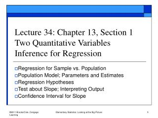 Lecture 34: Chapter 13, Section 1 Two Quantitative Variables Inference for Regression