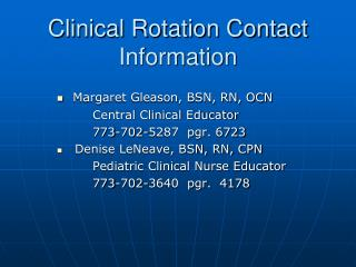Clinical Rotation Contact Information