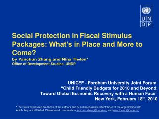 Social Protection in Fiscal Stimulus Packages: What's in Place and More to Come?