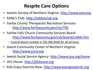 Respite Care Options