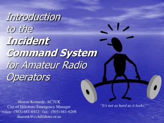 Introduction  to the  Incident Command System for Amateur Radio Operators