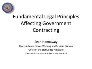 Fundamental Legal Principles Affecting Government Contracting
