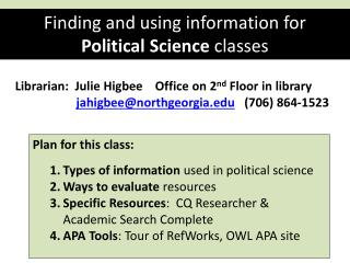 Finding and using information for Political Science classes