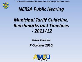 NERSA Public Hearing Municipal Tariff Guideline, Benchmarks and Timelines - 2011/12