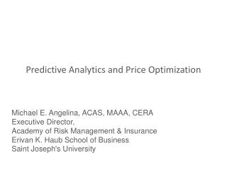 Predictive Analytics and Price Optimization