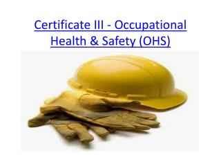 Certificate III - Occupational Health & Safety (OHS)
