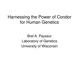 Harnessing the Power of Condor for Human Genetics