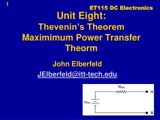 Unit Eight: Thevenin's Theorem Maximimum Power Transfer Theorm
