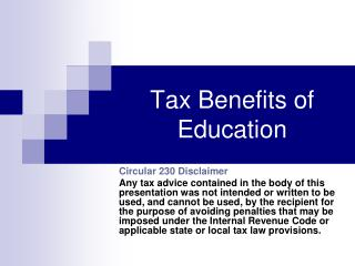Tax Benefits of Education