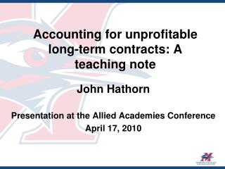 Accounting for unprofitable long-term contracts: A teaching note