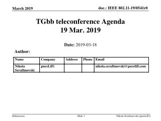 TGbb teleconference Agenda 19 Mar. 2019