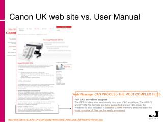 Canon UK web site vs. User Manual