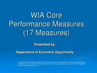 WIA Core  Performance Measures (17 Measures)