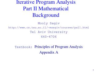 Iterative Program Analysis Part II Mathematical Background