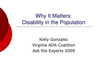 Why It Matters: Disability in the Population