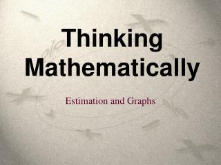 Thinking Mathematically