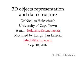 3D objects representation  and data structure