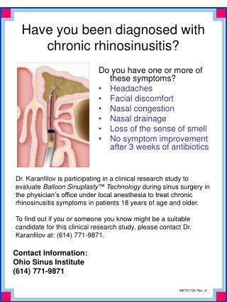 Have you been diagnosed with chronic rhinosinusitis?