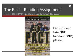 The Pact – Reading Assignment