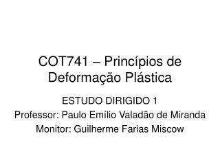 COT741 – Princípios de Deformação Plástica