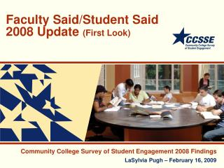 Faculty Said/Student Said 2008 Update  (First Look)