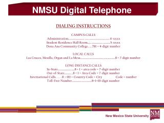 DIALING INSTRUCTIONS CAMPUS CALLS Administration …………… … .. ……………… ..6-xxxx