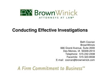 Conducting Effective Investigations