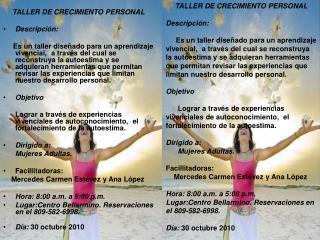 TALLER DE CRECIMIENTO PERSONAL Descripción: